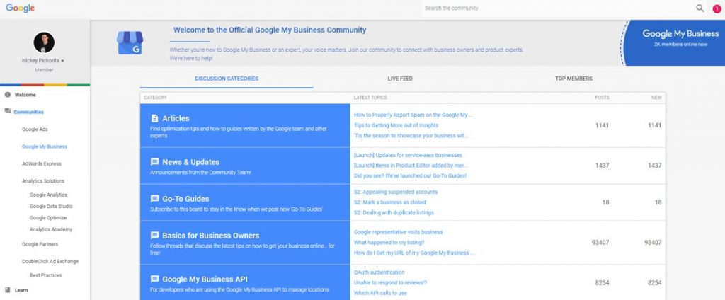 google my business community forums